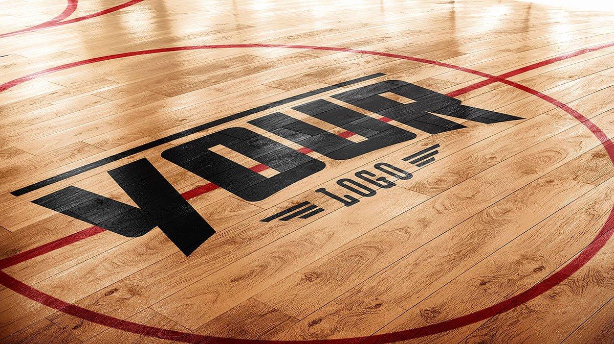 Basketball Court Design Template Elegant Basketball Court Logo Mockup On Wa Gallery