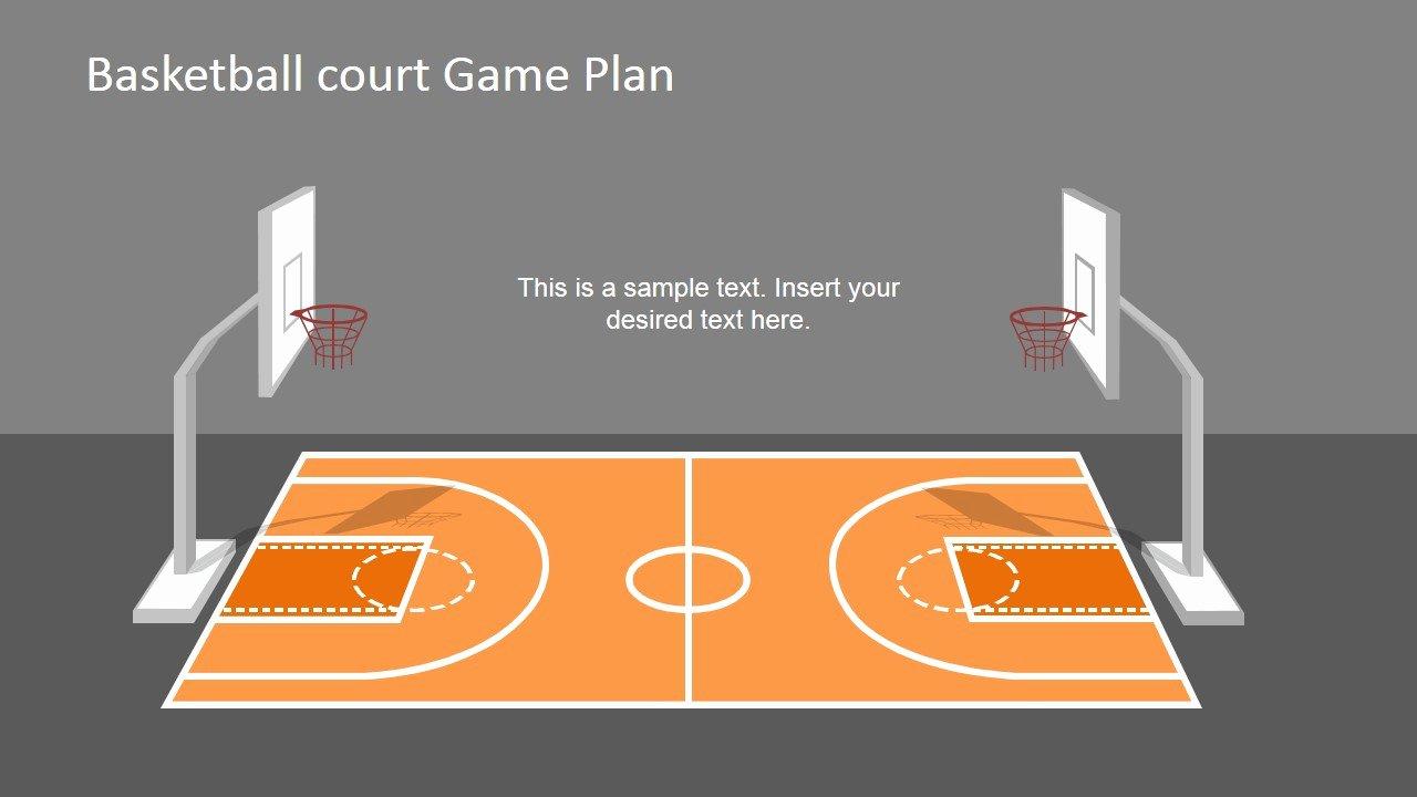 Basketball Court Design Template Unique Basketball Court Game Plan Powerpoint Shapes Slidemodel