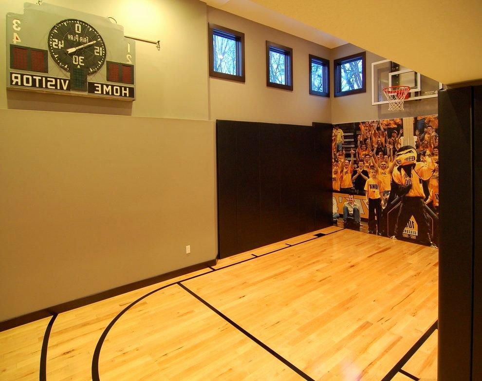 Basketball Half Court Rug Awesome Ki Basketball Score Home Gym Modern with Natural Wood Oak
