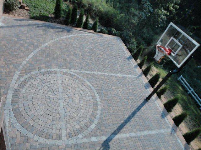Basketball Half Court Rug Elegant Paver Basketball Court Modern Other by Wildwood Land