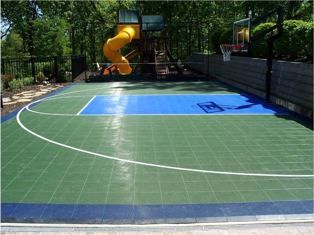 Basketball Half Court Rug Inspirational Backyard Basketball Sport Court Traditional Landscape