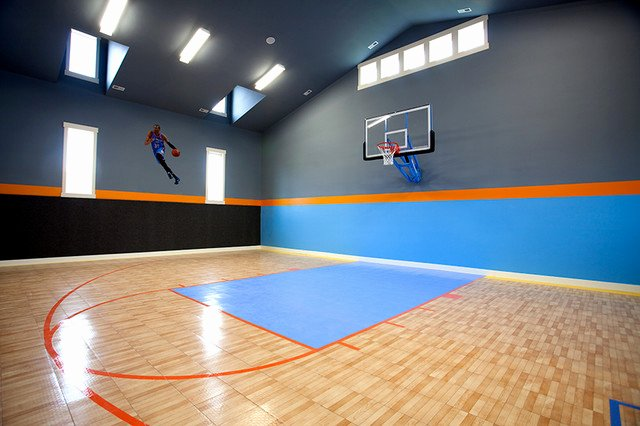 Basketball Half Court Rug Inspirational Indoor Basketball Court Transitional Home Gym Salt