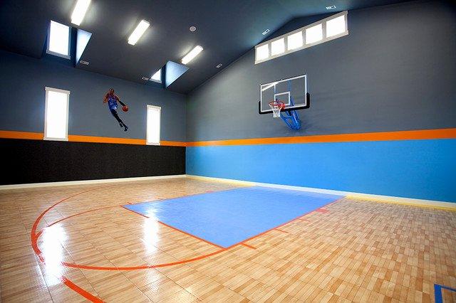 Basketball Half Court Rug Inspirational Indoor Basketball Court Transitional Home Gym Salt