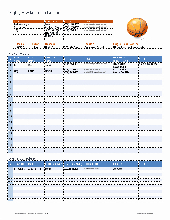 Basketball Practice Schedule Template Best Of Create A Printable Basketball Roster with This Excel
