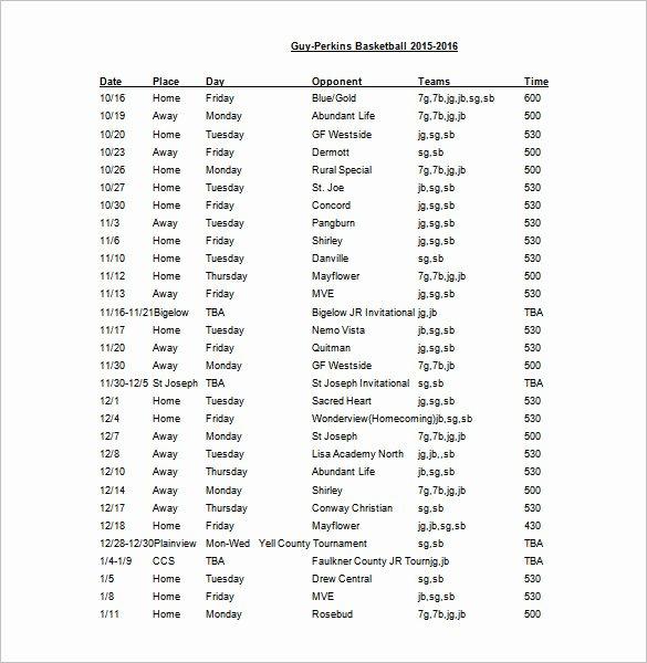 Basketball Practice Schedule Template Fresh 12 Basketball Schedule Templates & Samples Doc Pdf