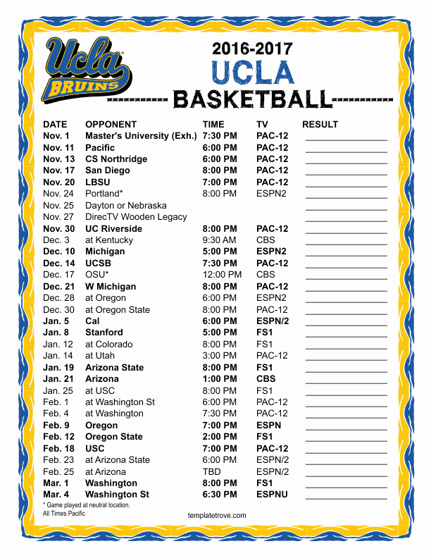 Basketball Schedule Template Awesome Printable 2016 2017 Ucla Bruins Basketball Schedule