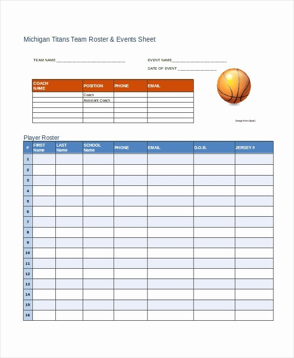 Basketball Schedule Template Awesome Roster Template 8 Free Word Excel Pdf Document