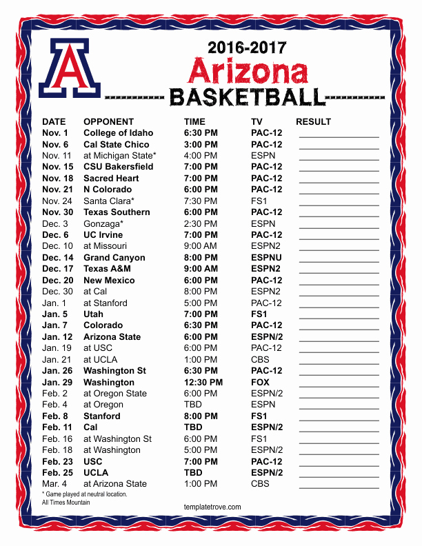 Basketball Schedule Template Best Of Printable 2017 2018 Florida Gators Basketball Schedule