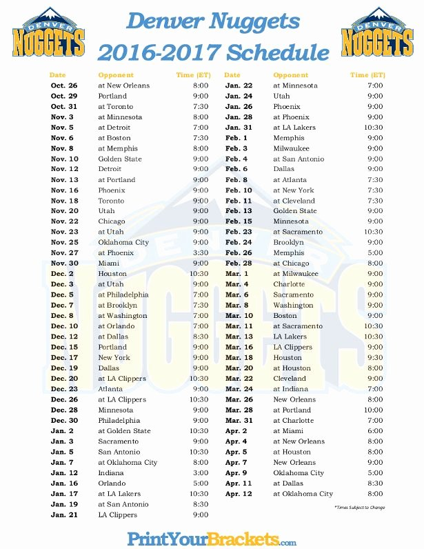 Basketball Schedule Template Elegant Printable Denver Nug S Basketball Schedule 2016 2017