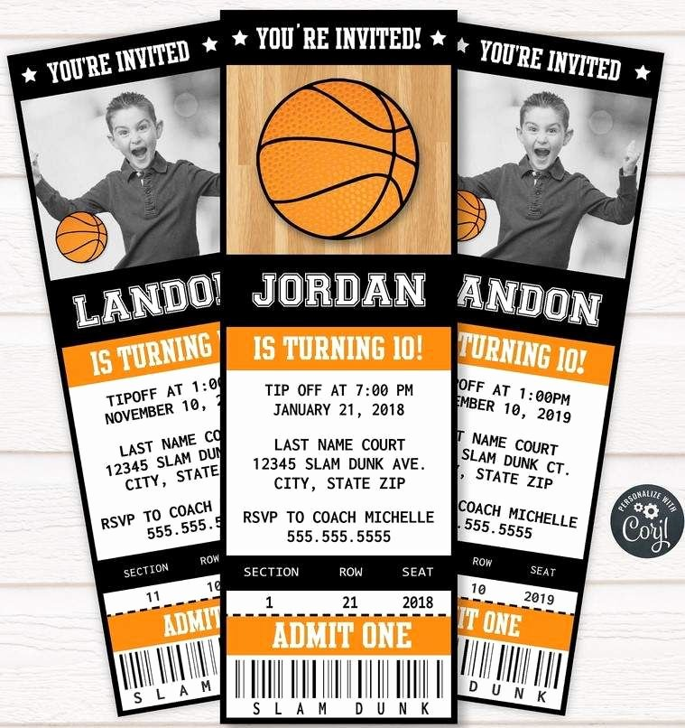 Basketball Ticket Invitation Template Free Awesome Free Printable Basketball Ticket Invitation