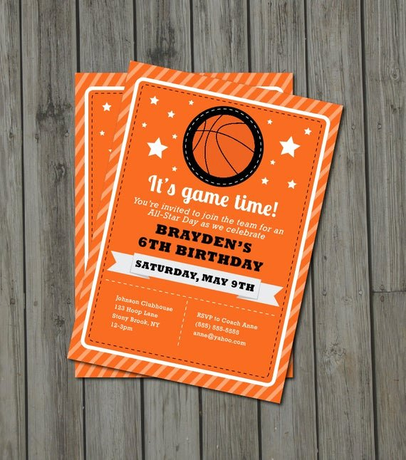 Basketball Ticket Invitation Template Free Awesome Items Similar to Basketball Birthday Party Invitation