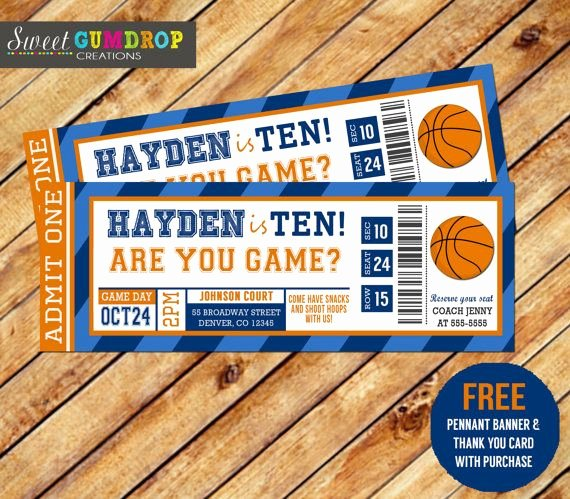 Basketball Ticket Invitation Template Free Beautiful Basketbal Ticket Printable Gratis Wimpel Banner En