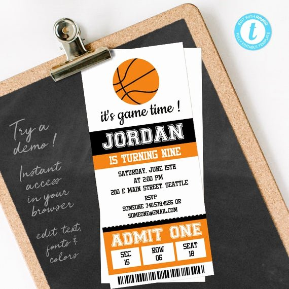 Basketball Ticket Invitation Template Free Beautiful Basketball Ticket Invitation Template Basketball Birthday