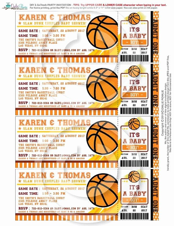 Basketball Ticket Invitation Template Free Beautiful Basketball Ticket Pass Baby Shower Printable 2 5 X 7 Inch