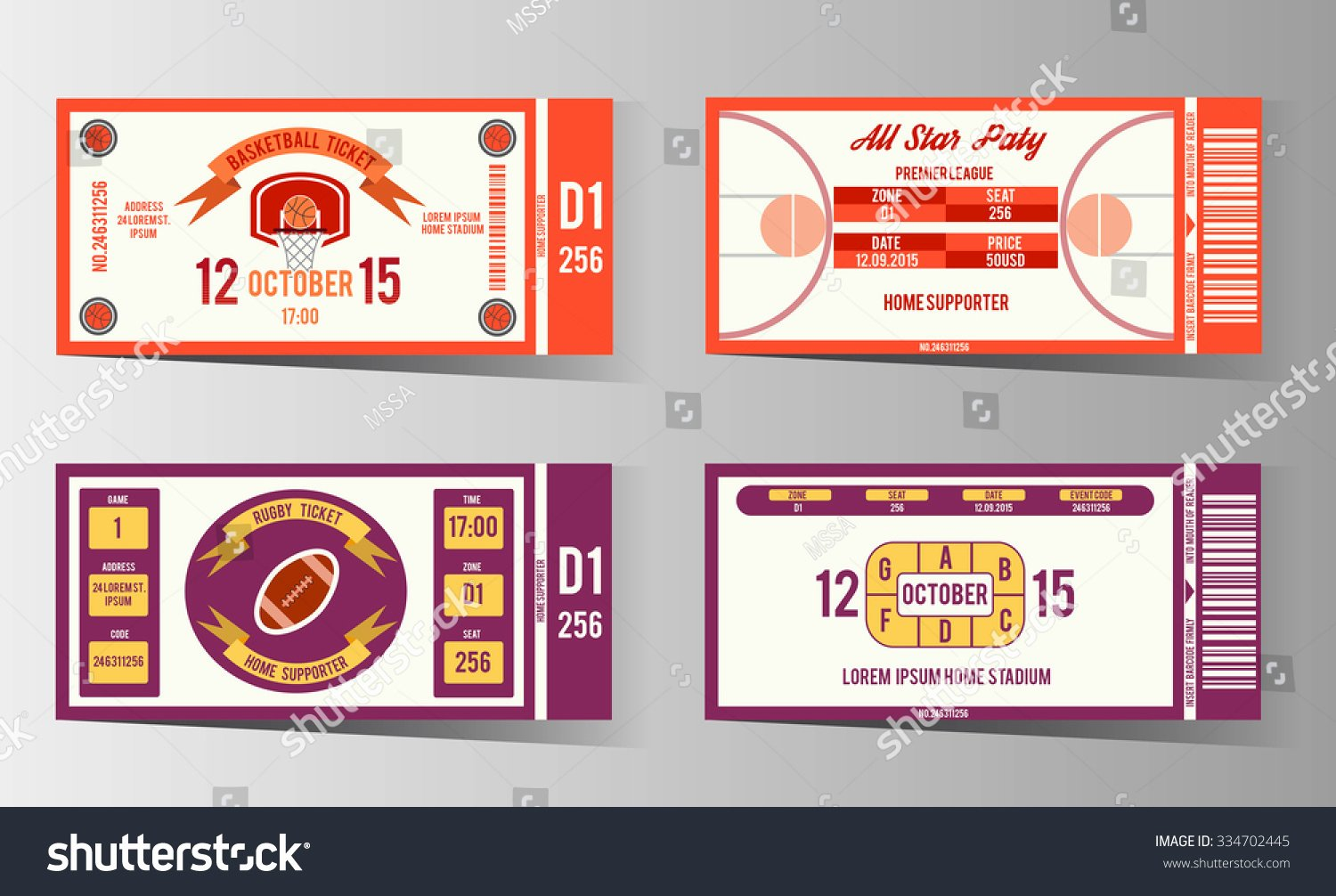 Basketball Ticket Invitation Template Free Beautiful Rugby and Basketball Ticket Design Template Card