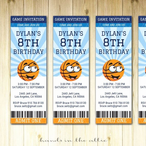 Basketball Ticket Invitation Template Free Best Of Basketball Birthday Invitation Ticket Sports Party Invite
