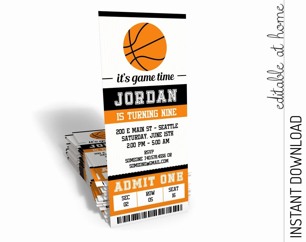 Basketball Ticket Invitation Template Free Elegant Basketball Invitation Basketball Birthday Invitation