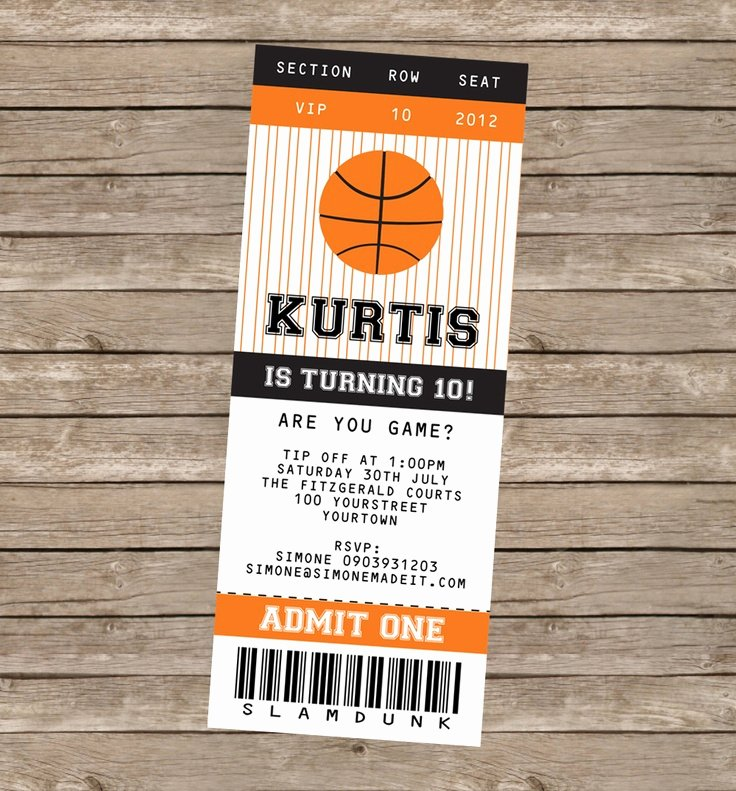 Basketball Ticket Invitation Template Free Elegant Basketball Party Printables Invitations & Decorations