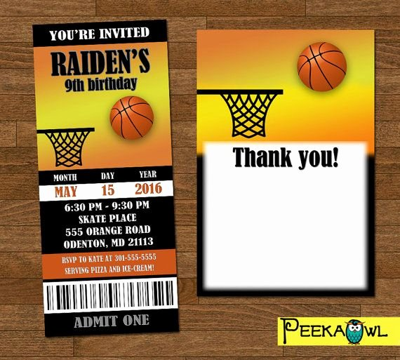 Basketball Ticket Invitation Template Free Elegant Printable Basketball Invitation Ticket Customize