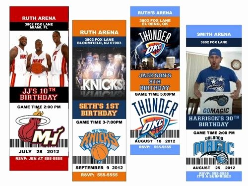 Basketball Ticket Invitation Template Free Fresh Basketball Custom Birthday Party Ticket Invitation