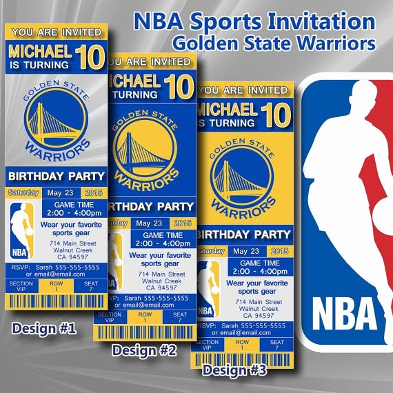 Basketball Ticket Invitation Template Free Lovely Golden State Warriors Nba Birthday Invitation Basketball