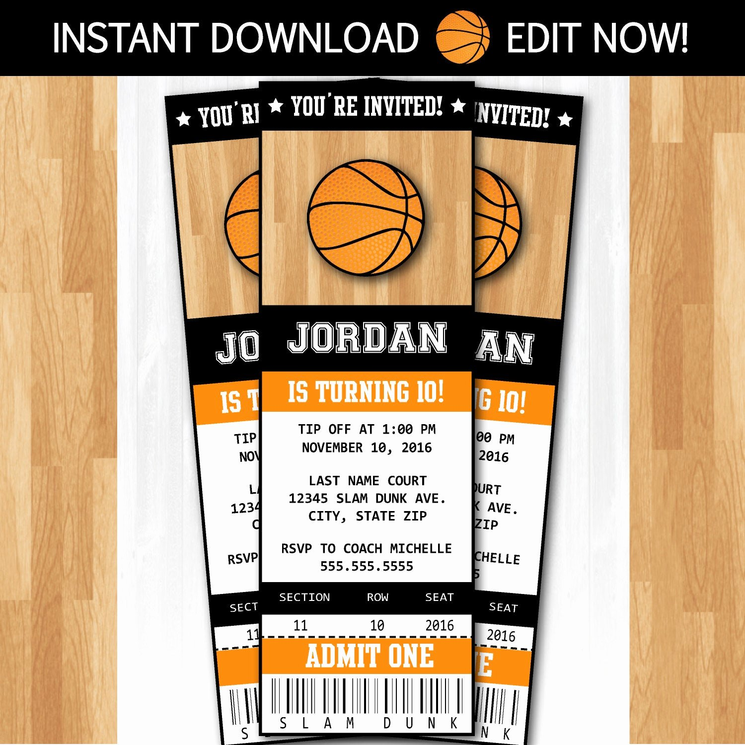 Basketball Ticket Invitation Template Free Luxury Basketball Invitations Diy Instantly Downloadable and