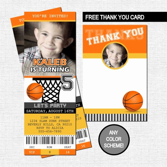 Basketball Ticket Invitation Template Free Luxury Basketball Ticket Invitations Birthday Party Thank You Card