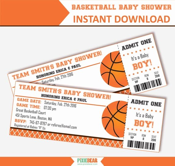 Basketball Ticket Invitation Template Free New Basketball Baby Shower Invitation Baby Shower Invitation for