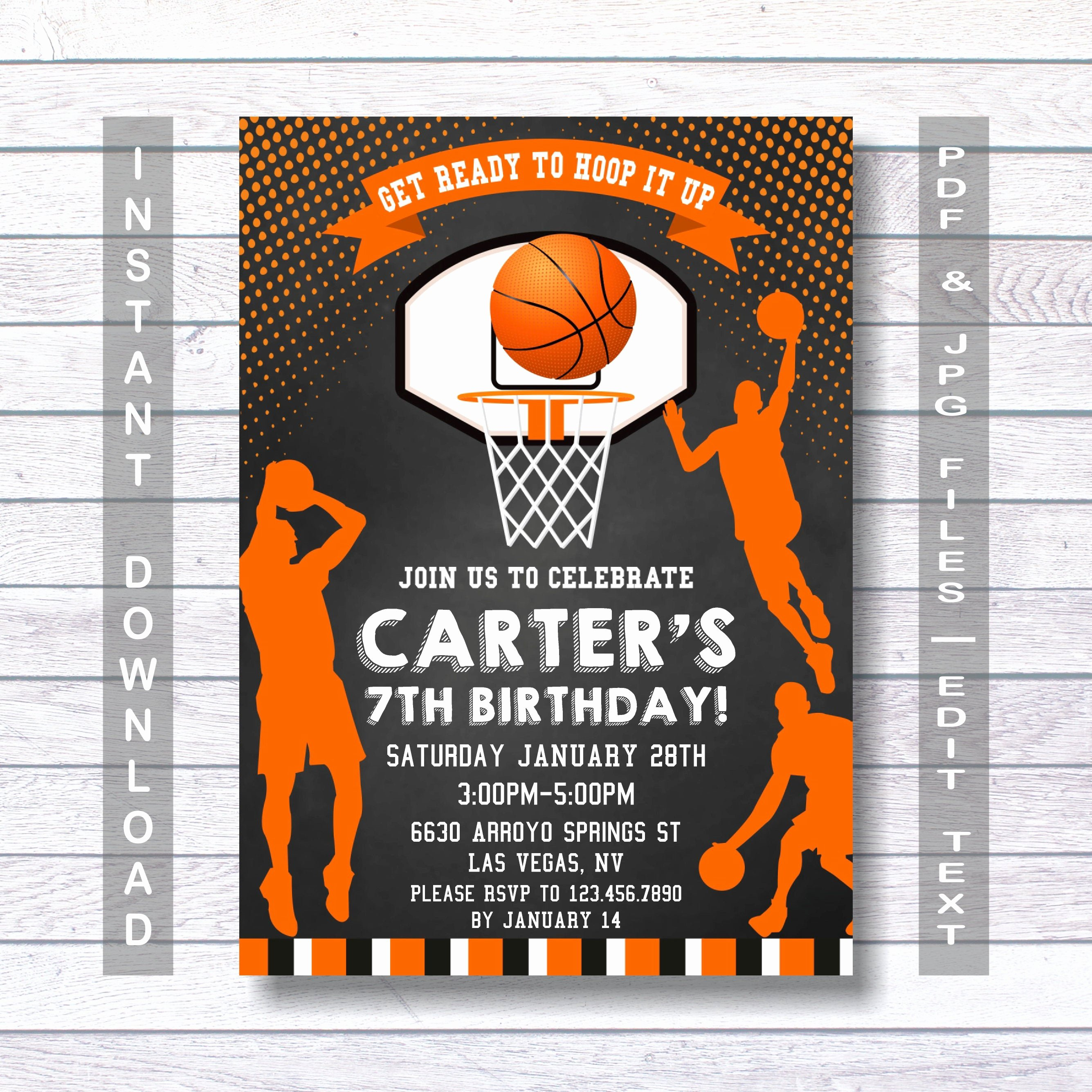 Basketball Ticket Invitation Template Free New Basketball Invitations Basketball Birthday Invitation