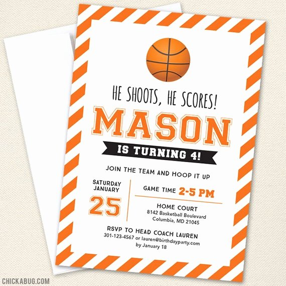 Basketball Ticket Invitation Template Free New Basketball Party Invitations Professionally Printed or