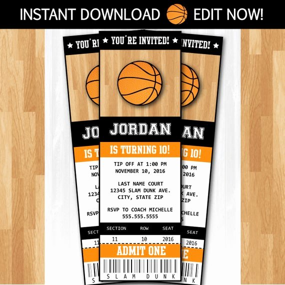 Basketball Ticket Invitation Template Free Unique Basketball Invitations Diy Instantly Downloadable and