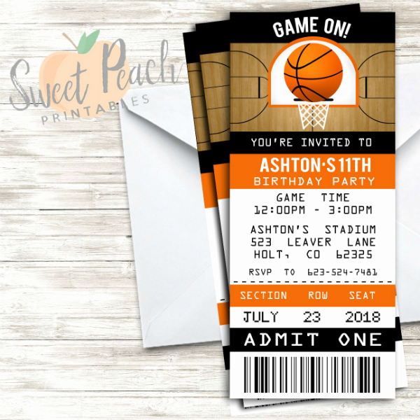 Basketball Ticket Template Awesome 12 Basketball Ticket Invitation Card Designs & Templates