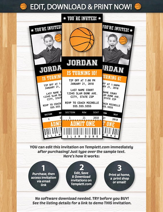 Basketball Ticket Template Beautiful Basketball Invitations Basketball Ticket Invitation