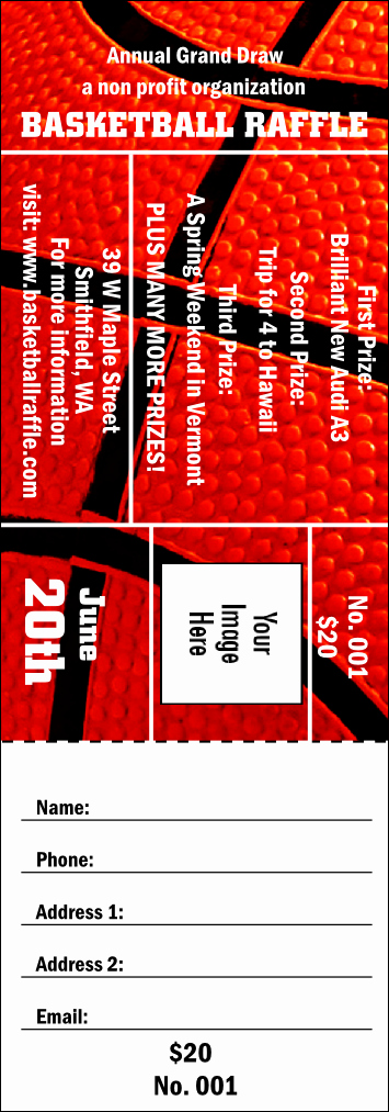 Basketball Ticket Template Elegant Basketball Raffle Ticket 003