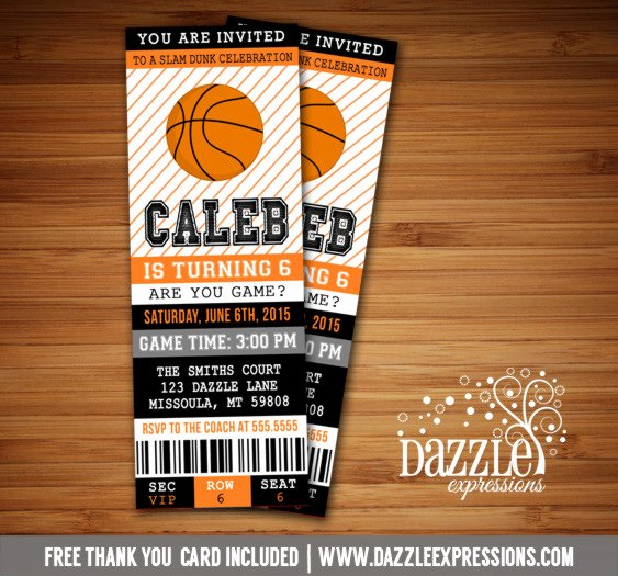 Basketball Ticket Template Elegant Printable Basketball Ticket Birthday Invitation Sports