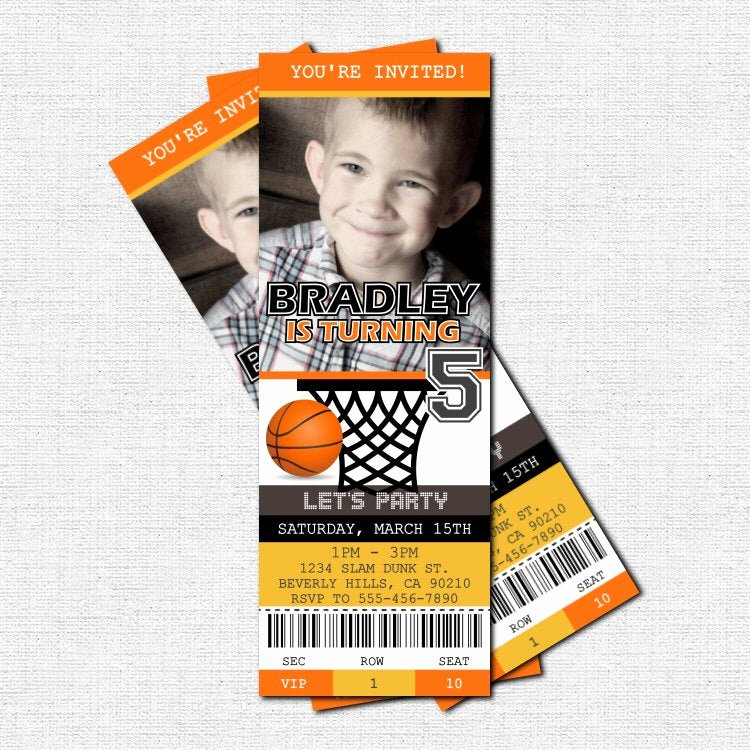 Basketball Ticket Template Inspirational Basketball Ticket Invitations Birthday Party Print by