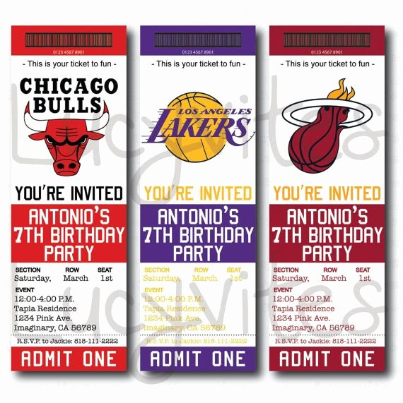 Basketball Ticket Template Inspirational Basketball Ticket Stub Digital Invitation Any Team by