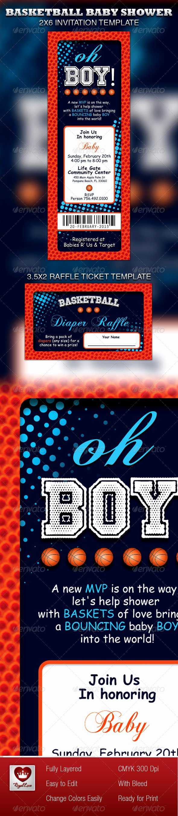 Basketball Ticket Template Lovely Basketball Baby Shower Invitation & Raffle Ticket by
