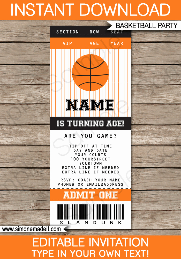 Basketball Ticket Template Lovely Basketball Ticket Invitation Template
