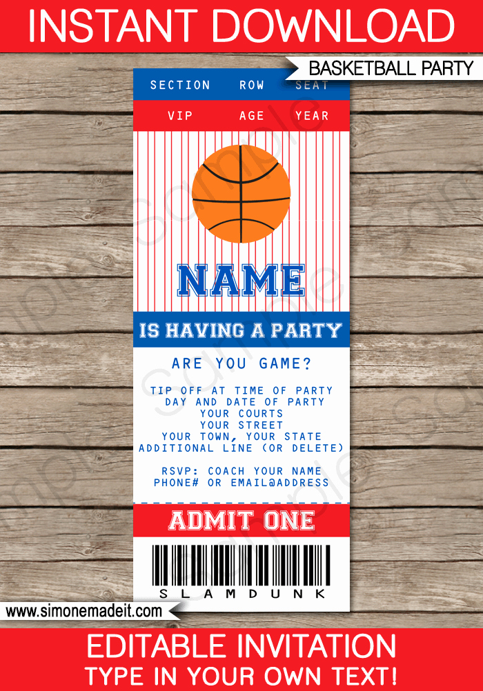 Basketball Ticket Template Lovely Navy Blue and Red Basketball Party Ticket Invitation Template