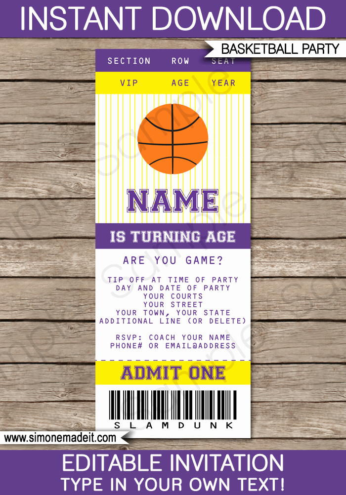 Basketball Ticket Template Lovely Yellow and Purple Basketball Party Ticket Invitation Template