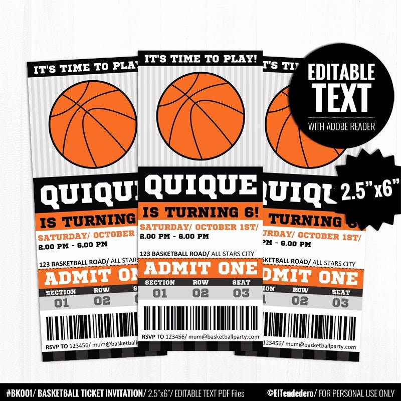 Basketball Ticket Template Luxury Editable Basketball Ticket Invitation Template Printable