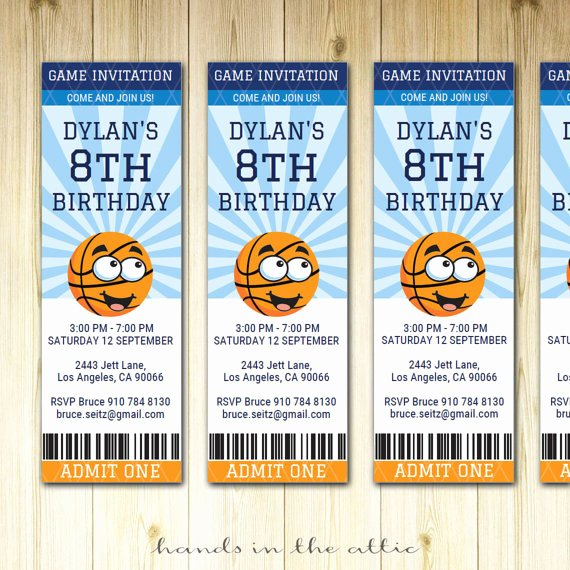 Basketball Ticket Template New Basketball Birthday Invitation Ticket Sports Party Invite