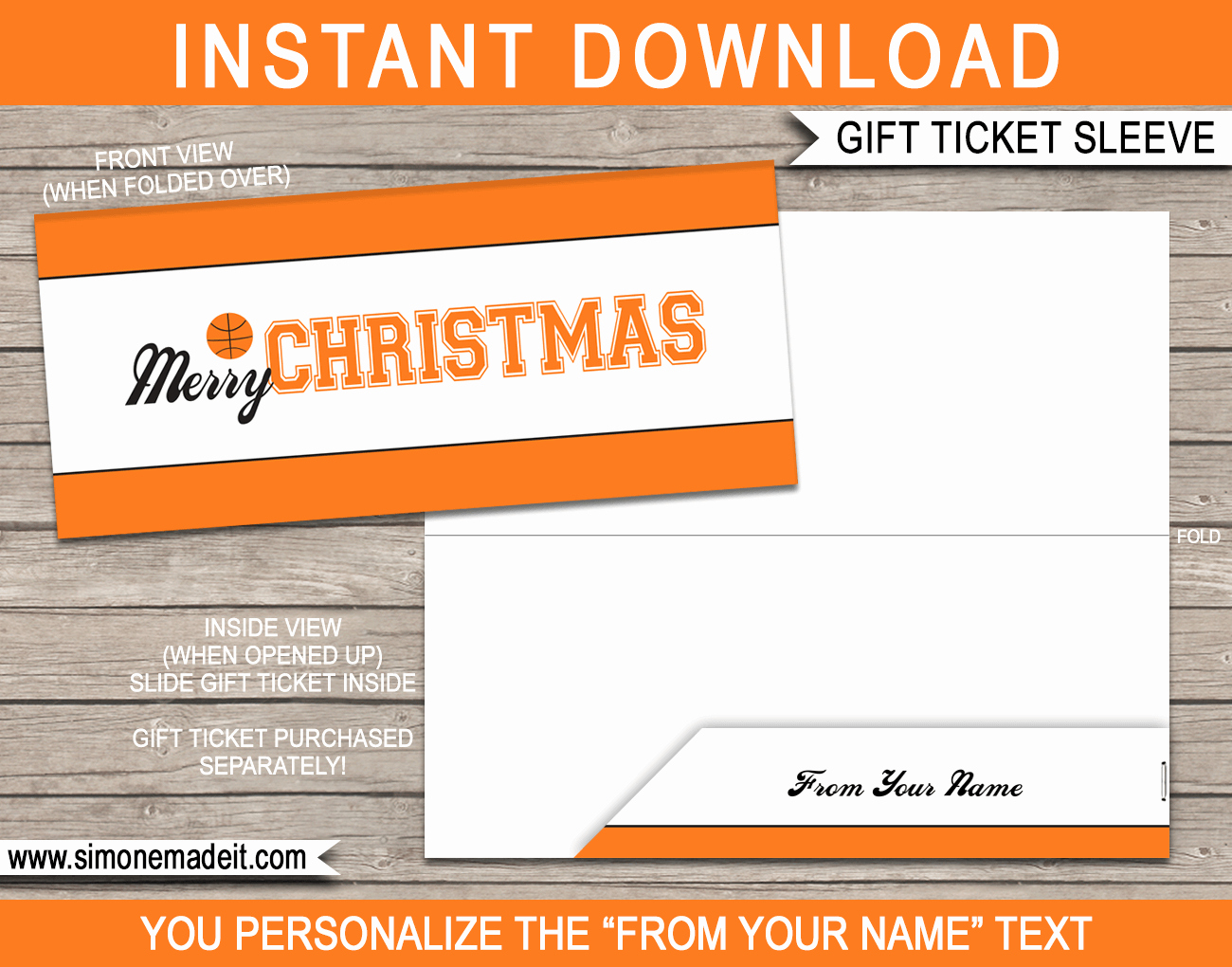 Basketball Ticket Template New Basketball Christmas Gift Ticket Sleeve