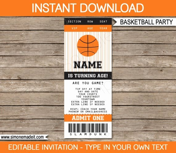 Basketball Ticket Template Unique Basketball Ticket Invitation Template Birthday Party