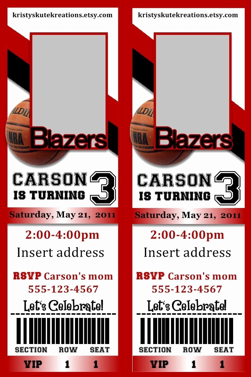 Basketball Ticket Template Unique Basketball Ticket Invitation Template Google Search