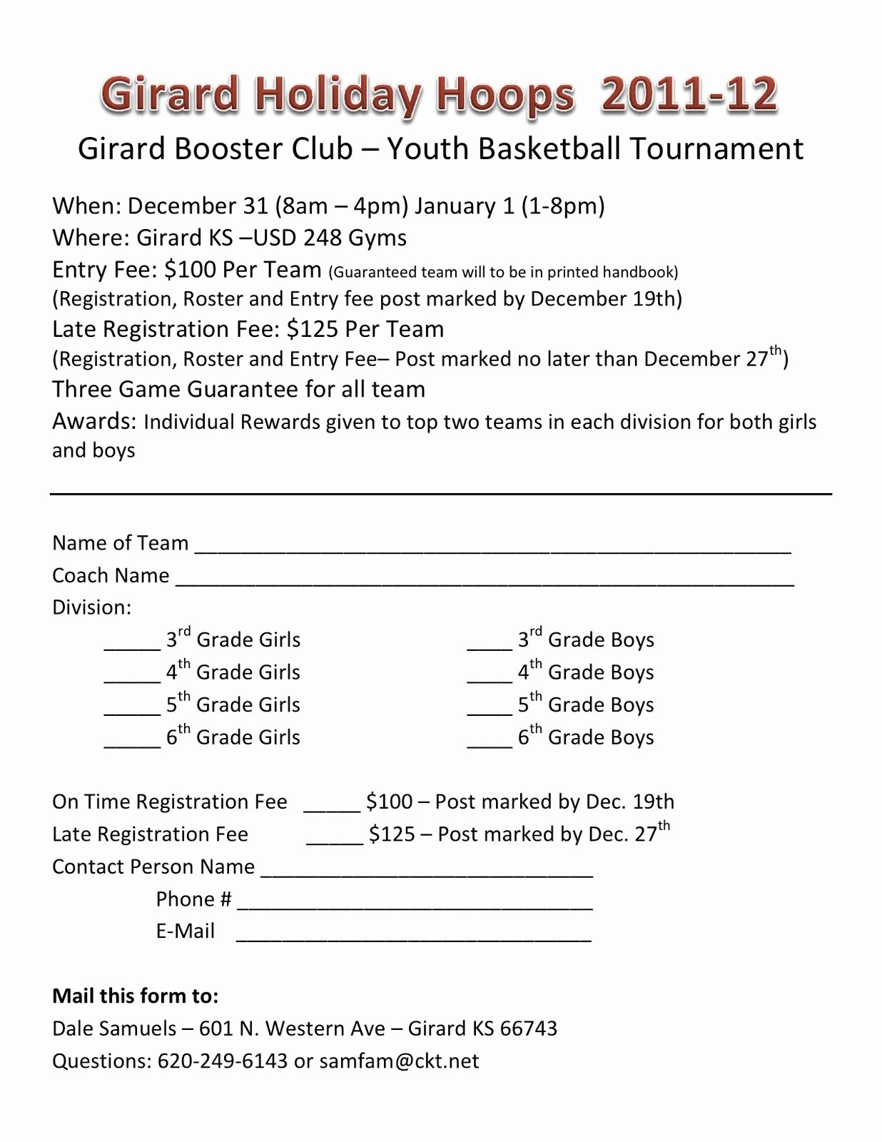 Basketball tournament Registration form Template Beautiful Ghs Booster Club Holiday Hoops