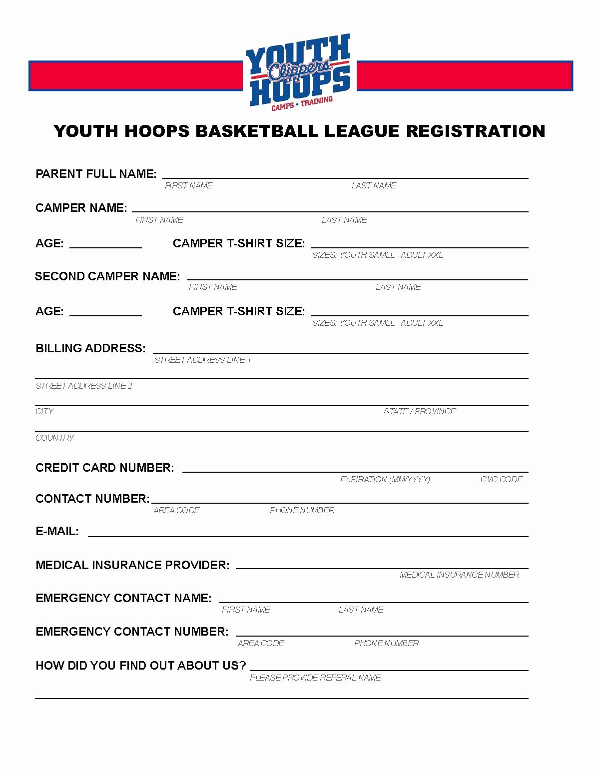 Basketball tournament Registration form Template Best Of Clippers Youth Hoops Basketball League Pdf