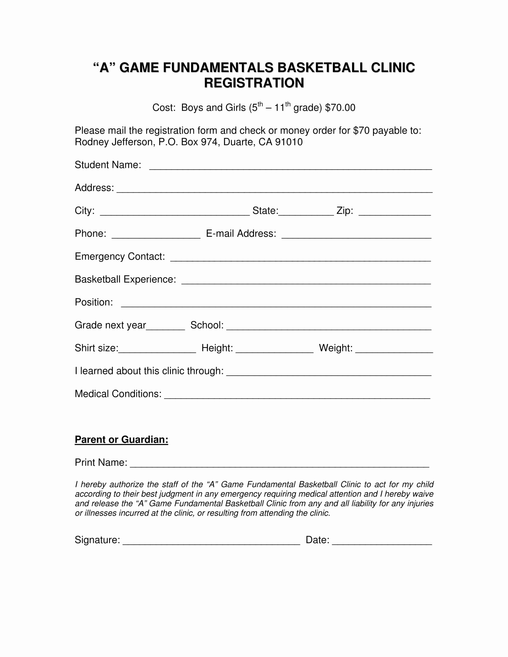 Basketball tournament Registration form Template Fresh 10 Basketball Registration form Samples