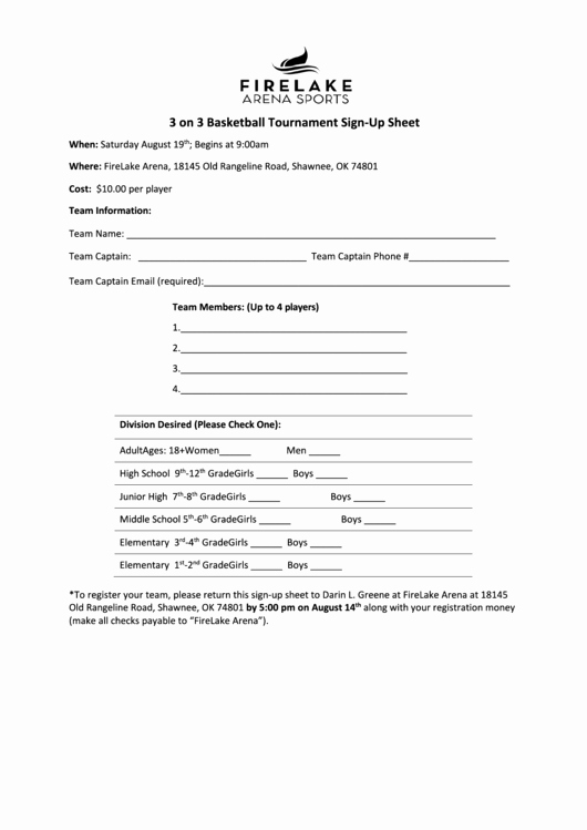 Basketball tournament Registration form Template Lovely 3 3 Basketball tournament Sign Up Sheet Printable Pdf